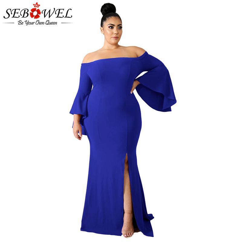 35444812f9e Compre SEBOWEL Sexy Blue Off Shoulder Plus Size Maxi Vestido De Fiesta  Mujeres Otoño Elegante Elegante Tamaño Grande 4XL Bodycon Split Vestido  Largo Para ...