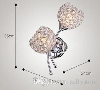 Modern K9 Crystal hanging Wall Sconce Aluminium Lampshade E27 110V 220V Crystal Modern Wall Lamp for Home Decoration
