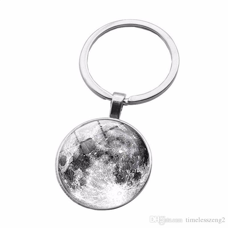 Star pattern Time Gem Cabochon key chain Black and white color series planet design key ring Individual small gifts