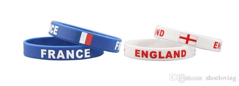 coppa del mondo 2018 Russia braccialetto braccialetto, molti bandiera nazionale gel di silice braccialetto gli appassionati di calcio che commemora piccoli gioielli gioielli
