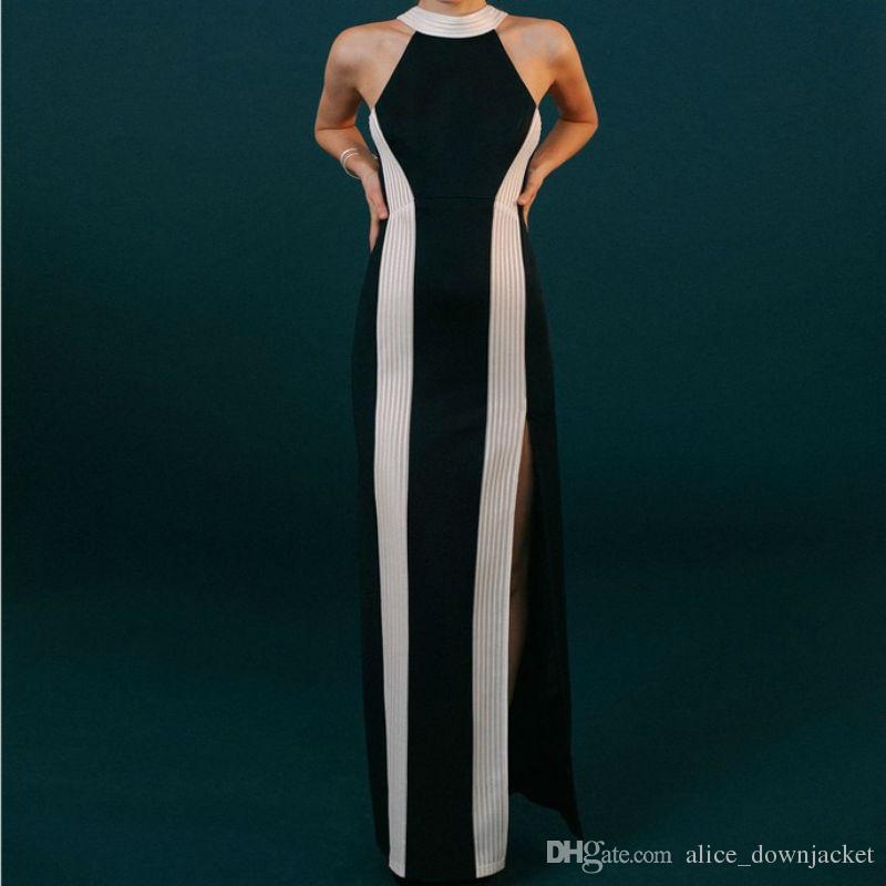 598fcf7fce8 New Sexy Fashion Celebrity Bandage Dress Black   White Striped Women  Bodycon Long Dress Vestido Ankle-Length Evening Club Party Maxi Dresses  Vestido Black ...