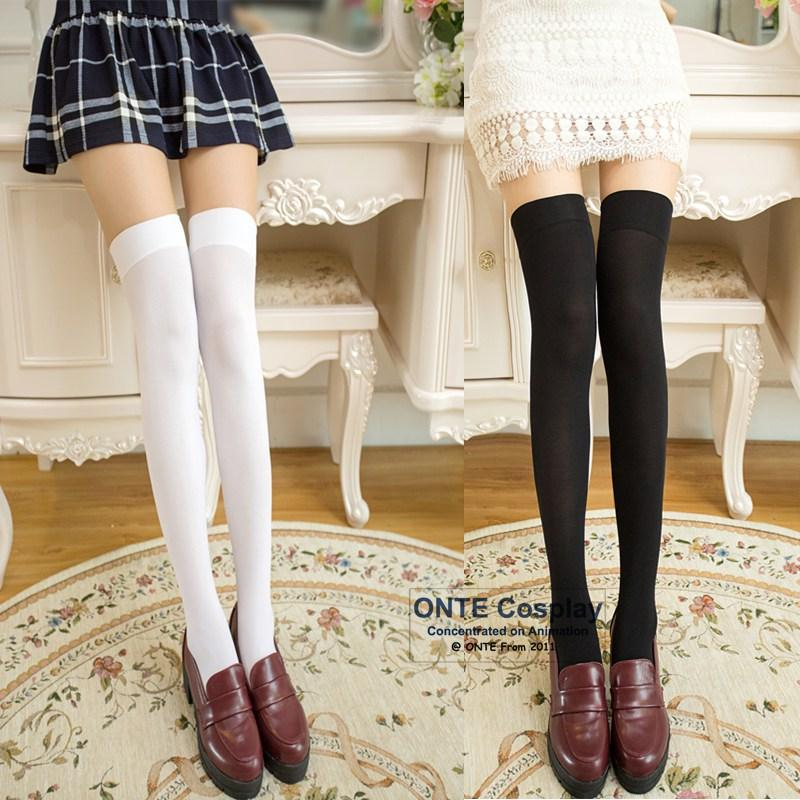 9151c77ad29 2019 Hot Sexy Women The Knee High Socks Girl Stockings Lolita Cosplay  Striped Solid Color Socks From Vanilla15