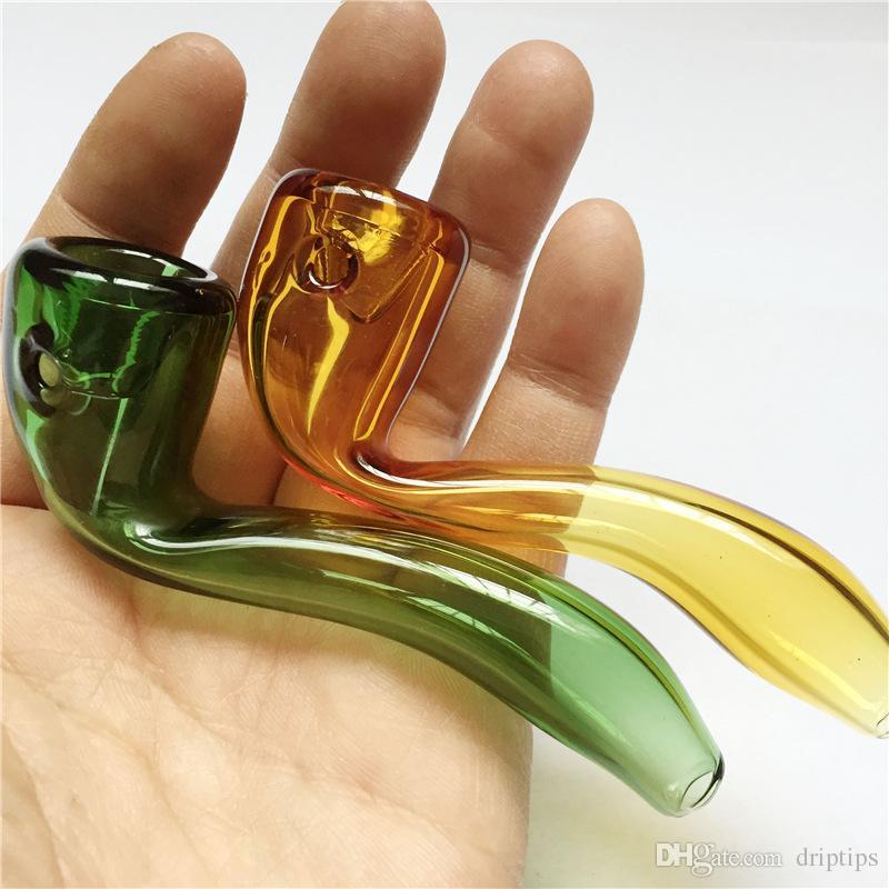 DHL 유리 숟가락 파이프 담배 흡연 파이프 고품질의 유리 오일 오일 버너 마른 허브 길이에 대한 블런트 bongs 길이 9.5cm