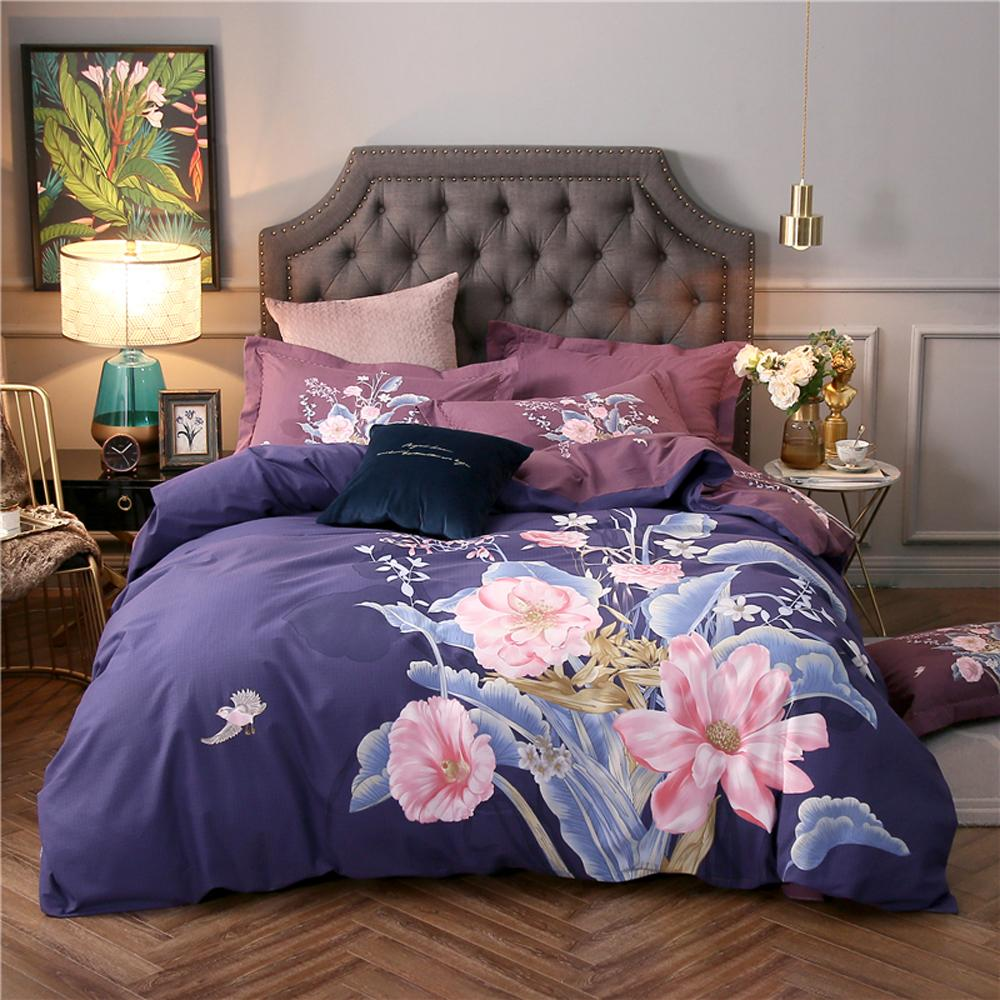gro handel 2018 rosa blumen lila blau bettw sche set schleifen baumwolle bettw sche bettw sche. Black Bedroom Furniture Sets. Home Design Ideas