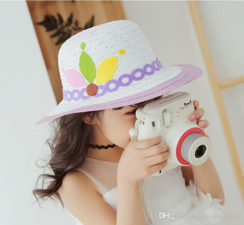 Cappelli a tesa larga da donna elegante con cappelli da spiaggia bowknot estate ragazza cappello da sole traspirante protezione solare cappello di paglia genitore-bambino nave libera