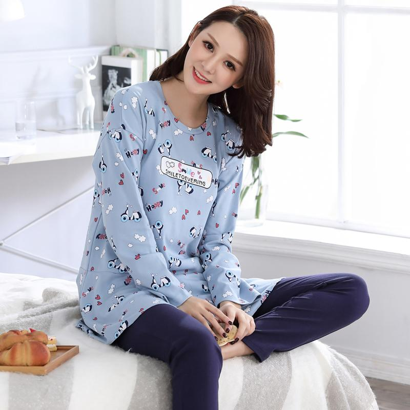 7f37ad83cd 2018 Newest Autumn 100%cotton Ladies Pyjamas Long Sleece Round Neck  Comfortable Soft Casual Big Size M Xxl Female Homewear Clothing From  Baiyulanflo