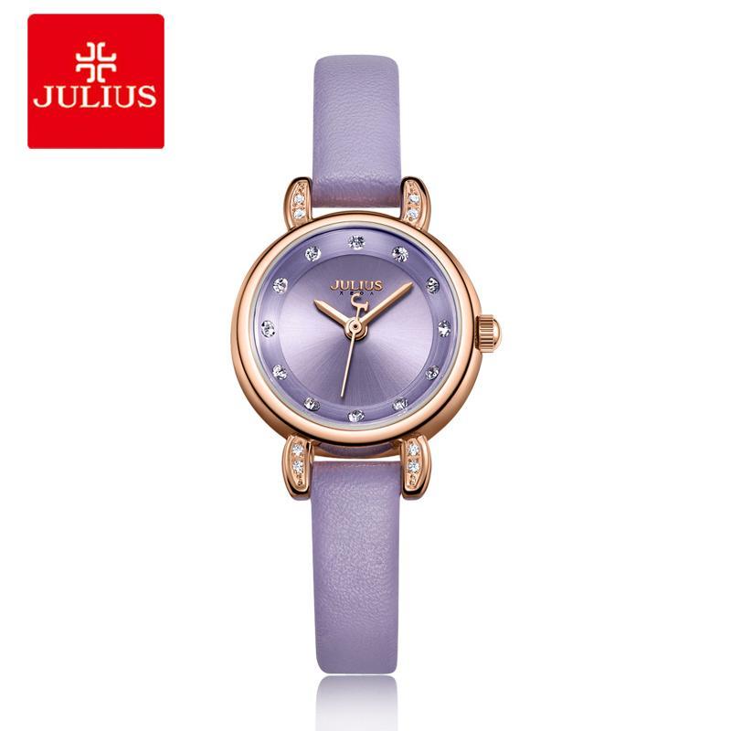 95780d963304 Compre Julius Nuevo Pequeño Mini Reloj De Las Mujeres Vestido De Las Señoras  Retro Correa De Cuero Pulsera Relojes De Pulsera De Cuarzo Femenino Reloj  Reloj ...