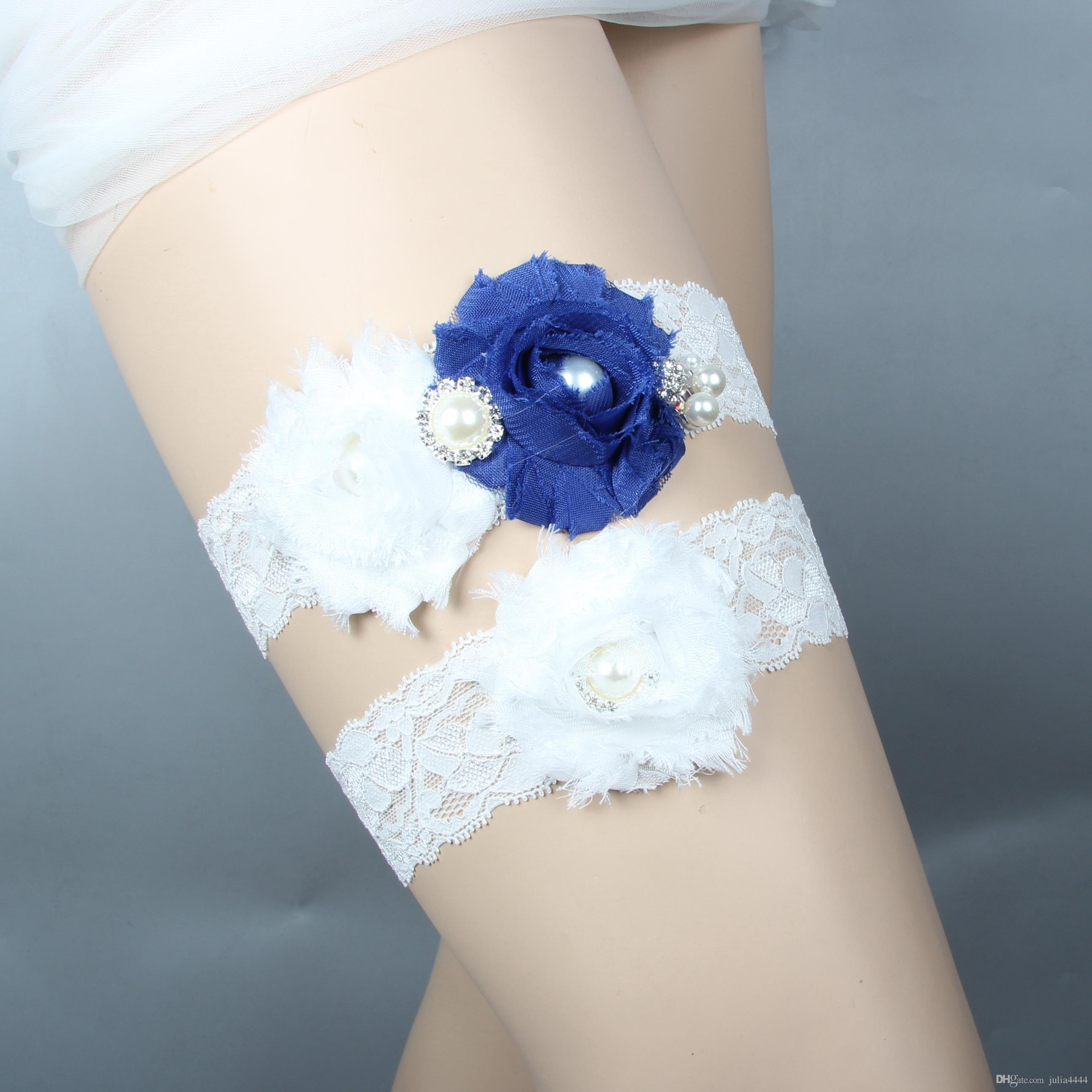 e2c629e1b White Bridal Garters For Bride Lace Wedding Garters Set Sexy Real Picture  Pearls Handmade Chiffon Flowers Royal Blue Cheap Cheap Prom Garters Cheap  Wedding ...