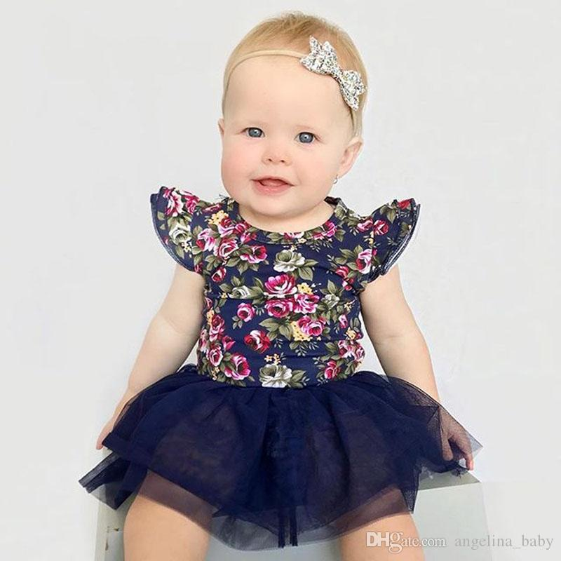 2018 Baby Girls Dresses INS New Floral Tulle Princess Dress + Headband Fashion Summer Girl Kids Dresses Boutique Clothes