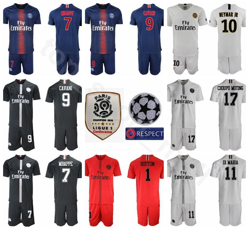 Compre 18 19 PSG FC París Saint Germain Soccer Jersey Set 10 NEYMAR JR 7  Kylian Mbappe 9 Edinson Cavani Uniformes Kits De Fútbol A  14.25 Del  Top sport mall ... a6cdc176d4d2b