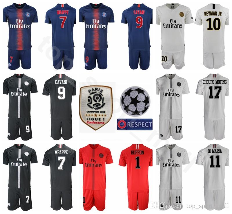 meet 9ef1b b33f2 18 19 PSG FC Paris Saint Germain Soccer Jersey Set 10 NEYMAR JR 7 Kylian  Mbappe 9 Edinson Cavani Football Shirt Kits Uniform