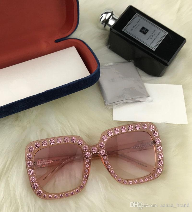 Brand designer Sunglasses 0148 Large Frame Elegant Special Designer and Diamond Frame Built-In Circular Lens Top Quality Come With free Case