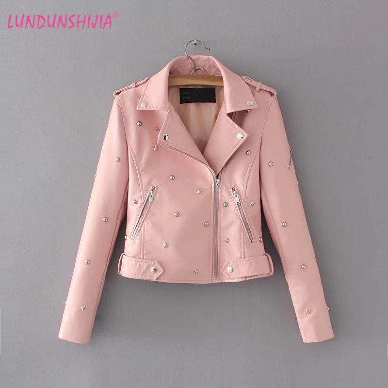 8915c75f52 LUNDUNSHIJIA Winter Women's Washed PU Leather Jacket Five-pointed Stars  Rivets Decoration Ladies Basic Jackets Good Quality