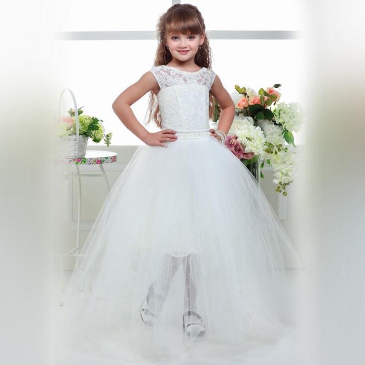 4ba0da93dd274 Acheter Deux Pièces Avec Jupe Enfants Princesse Robe En Dentelle Fleur  Fille Robes Pour La Longueur De Plancher De La Fille De Mariage Enfant Fête  ...