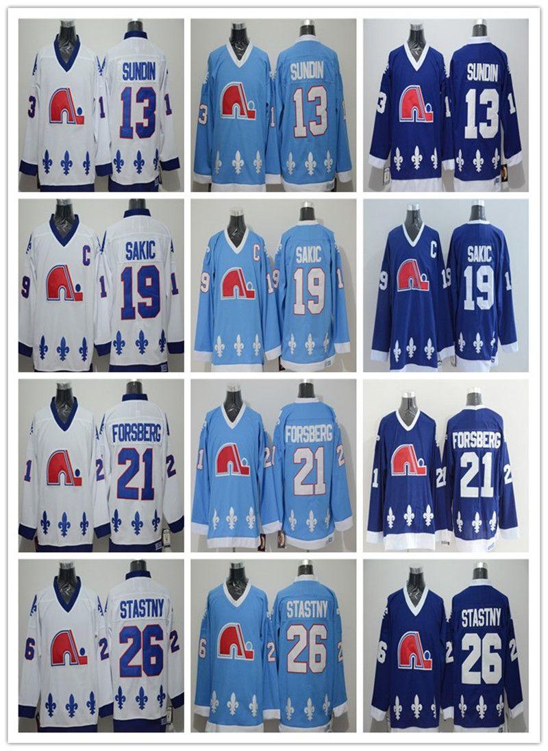 2018 Quebec Nordiques Jerseys Ice Hockey 13 Mats Sundin 21 Peter Forsberg  26 Peter Stastny 19 Joe Sakic Team Color Navy Blue White UK 2019 From ... 9142fe774