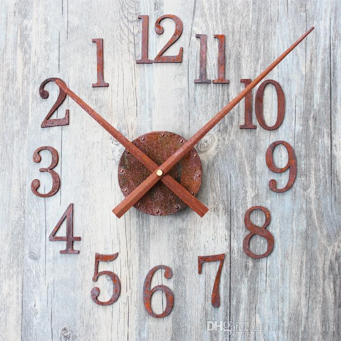 Wholesale- New creative fashion Pointer reversed DIY Vintage old rusted  metal texture Wall clock saat despertador digital clock mechanism