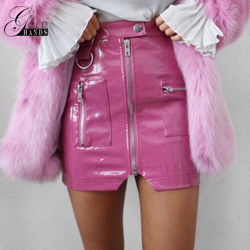 ca2edab37a4055 Mains D'or Femmes Faux Cuir Crayon Jupes Rose Bouton Avant Fermeture À  Glissière Mode D'hiver Sexy Partie Jupes Mini Taille Haute