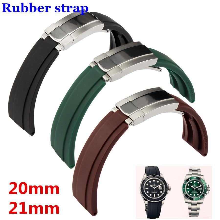 Hommes Noir Boucle Silicone Bracelet Haute Caoutchouc 20mm Livraison Pour Qualité Vert Avec Argent 21mm Gratuite Rx Montre Huître rdBWCoex