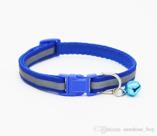 2018 High Quality Safety Nylon Dog Puppy Cat Collar Breakaway Adjustable Cats Collars with Bell and night Reflector width 1.0cm