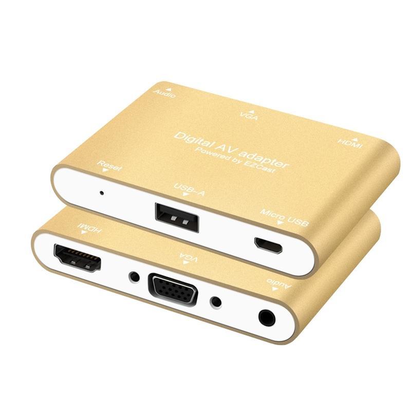 Digital AV Multiport Adapter Multifunction Phone USB to HDMI/VGA/Video  Converter For iPhone 6 6S 7 plus Ipad Samsung S7 Windows