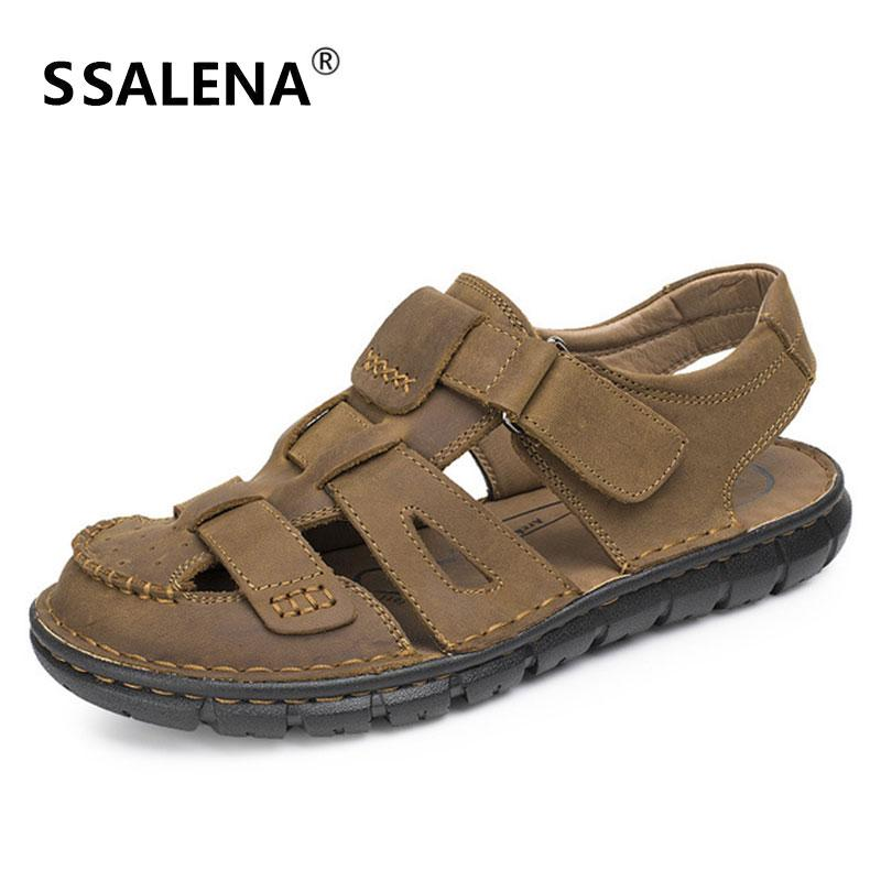 03f7d368c510 Men Outdoor Breathable Shoes Male Cut Out Mesh Beach Causal Sandals Men  Comfortable Hollow Flats Leather Sandals AA51630 Sandal Ladies Shoes From  Penbake