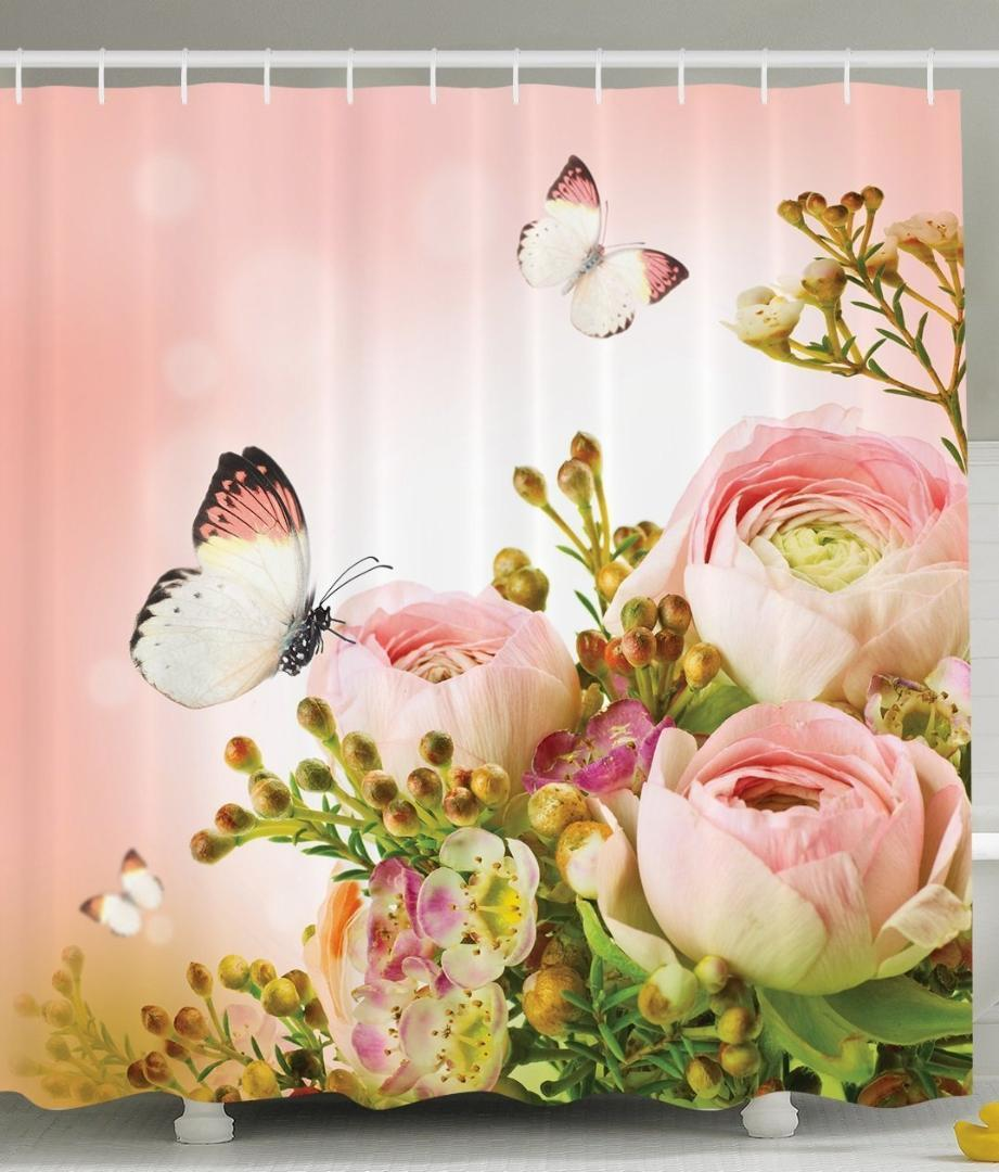 2019 Memory Home Floral Shower Curtain Pink Roses Flower Leaves Butterflies Print Fabric Bathroom Set With Hooks Light And Green From Aliceer