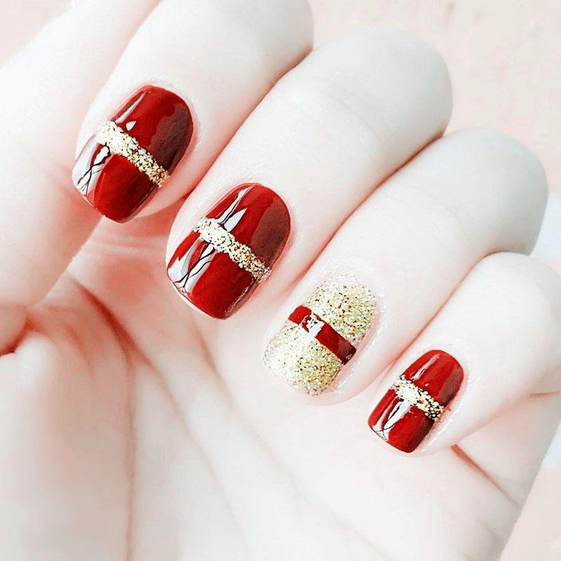 Elegant Red+Gold Flash Powder Design Finished False Nails.Short Size ...