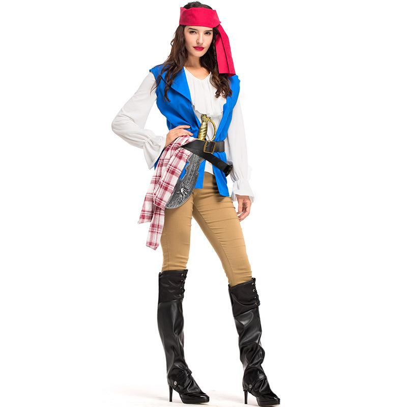Captain Pirates Caribbean Jack Sparrow Pirate Fantasia Adult Fancy Dress  Carnival Halloween Cosplay Costume Women Outfit Sexy UK 2019 From Alfreld dcb9beaafb51
