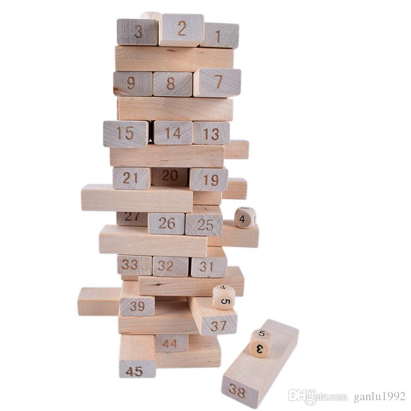 Wooden Toy Bricks Kid Early Educational Folds High Game Gift Number Building Blocks Toys New Arrive 8 5td W