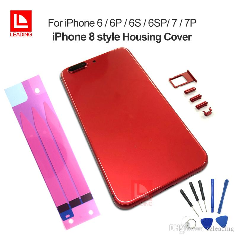 Red Housing for iPhone 6 6P 6S 6SP 7 7P Plus Cover Cover Cover مثل iPhone 8 Style Aluminium Glass Back Cover Cover