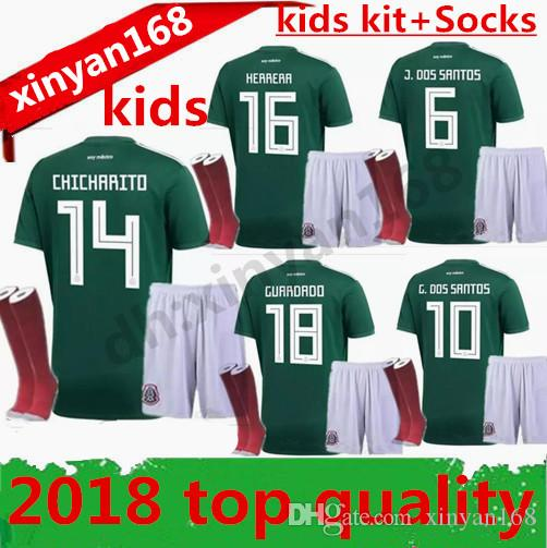 18 19 Mexico BOYS Soccer Jersey Kid Kit Home World Cup 2018 Football Shirts  CHICHARITO G.DOS SANTOS R.MARQUEZ Mexico Child KITS UK 2019 From Xinyan168 02be81b9c82