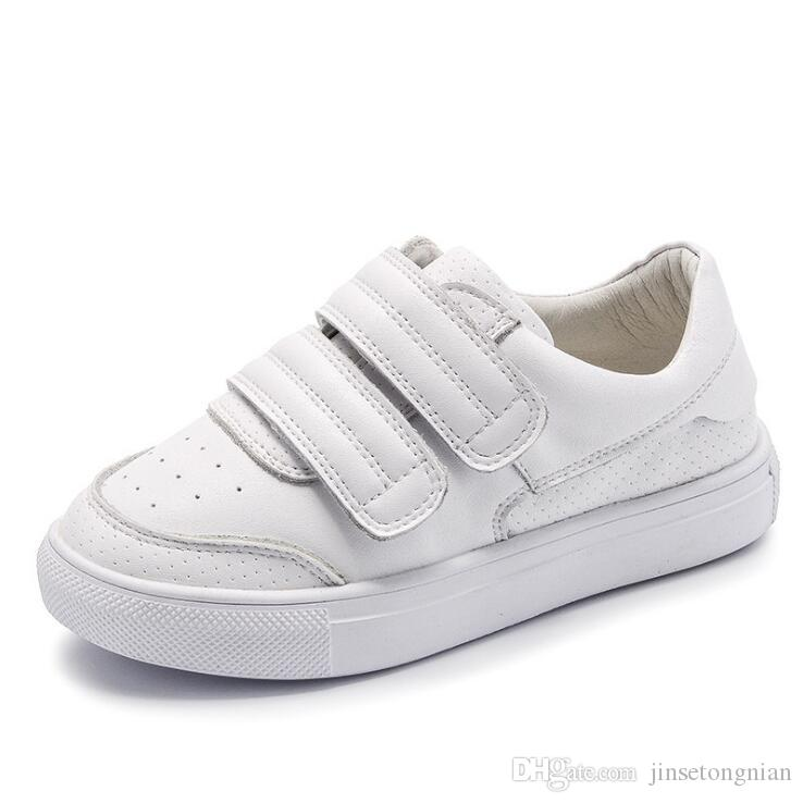 523428b8c7613 2019 Spring And Autumn Winter New Korean Children S Leather White Shoes Boys  And Girls Shoes Plus Velvet Breathable Casual Shoes Parent Chil Girls Brown  ...