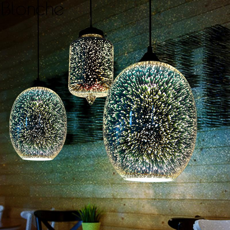 Modern 3D Stained Glass Pendant Lights Illusion Lamps Loft Industrial Hanging Lamp For Dining Room Lighting Fixtures Home Decor Ceiling