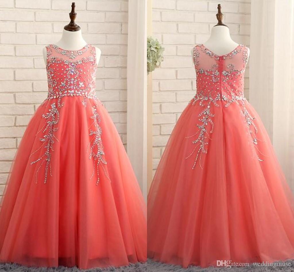 2018 Coral Girls Pageant Dresses Princess Puffy Ball Gown Tulle ...