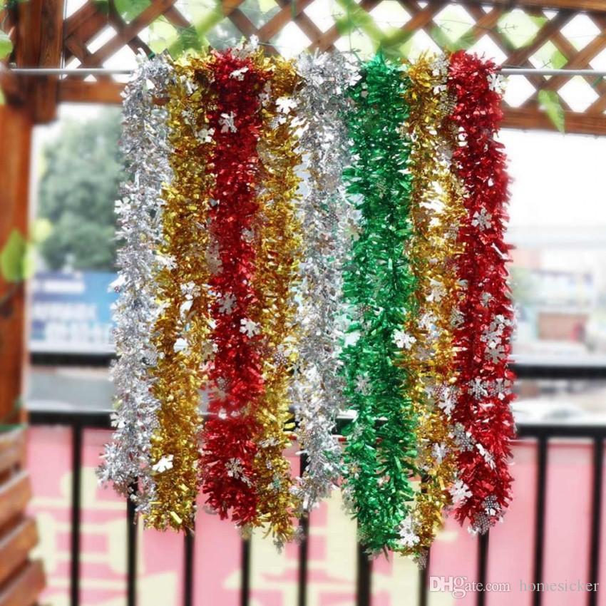 Ourwarm 2m Christmas Tree Tinsel Garland Ribbon Bar Shiny Tops Christmas Tree Hanging Ornaments Home Decoration New Year