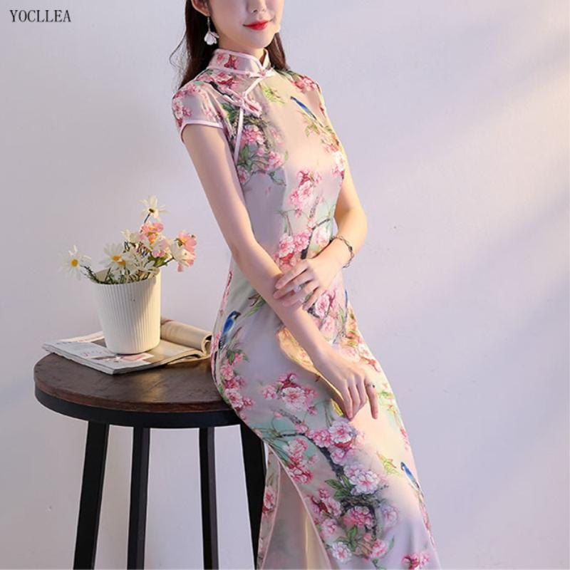5dc569bf8 2019 New Girl Traditional Chinese Silk Dress Women Long Qipao Slim Short  Sleeve Cheongsams Female Evening Party Long Dresses Vestidos From Sincha,  ...