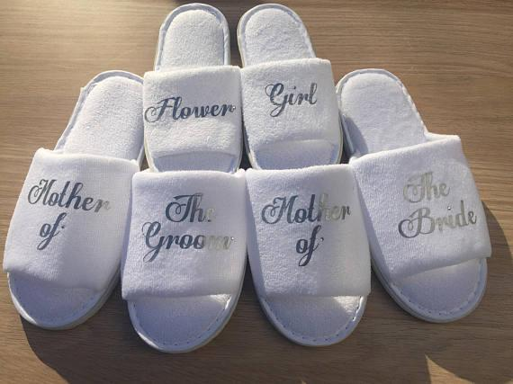 baa3cbe47 Personalized Silver Wedding Slippers