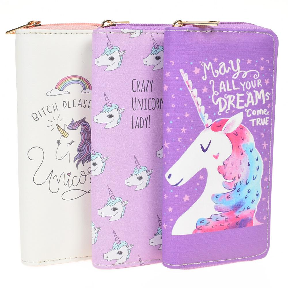 Zipper Wallets For Women With Phone PU Cartoon Unicorn Clutch Purses Small Holder Long Ladies Mini Wallets