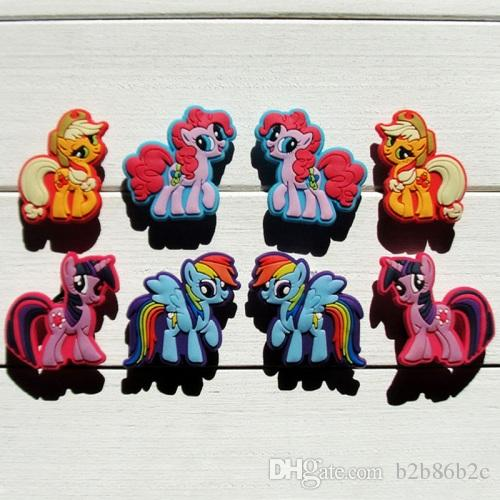 My Horses Lovely Summer Accessory Cartoon PVC Shoe Buckle Shoe Charm Fit Croc Shoes&Wristbands Accessories Kid Gift Party Favors