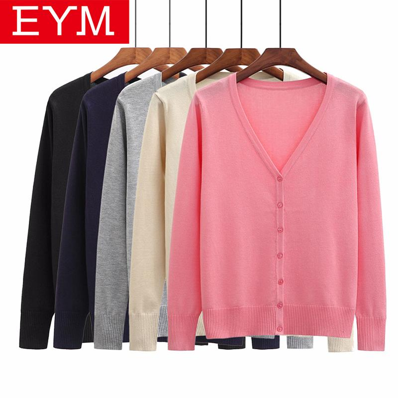 9a59d11b3210a 2019 2018 New Sweater Women Plus Size Za Simple Style Cardigan Knitted  Sweater Coat Long Sleeve Female Casual V Neck Woman Tops Femme Y1891104  From ...