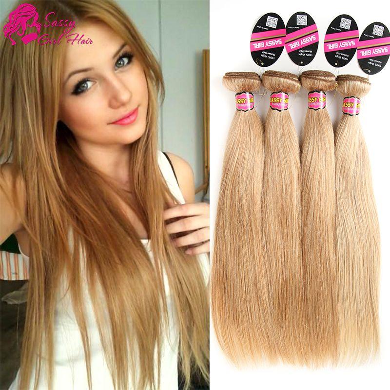 Grade 7a Brazilian Honey Blonde Straight Hair Weave Unprocessed 27