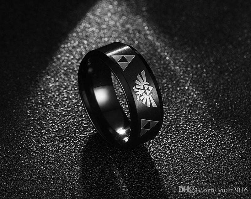 Wedding Ring 8mm 316L Stainless Steel the Legend of Zelda Triforce Ring for Men,Black,Size 5-13 comfort fit for men and woman Hot sale