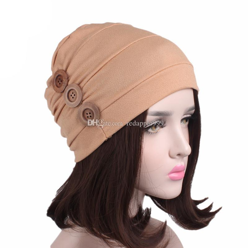 Muslim Women Stretch Button Ruffle Turban Hat Cancer Chemotherapy Bandanas Chemo Beanies Caps Headwrap Hijab Hair Accessories