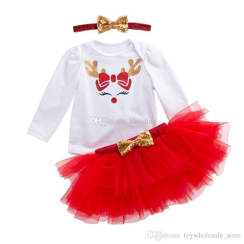32671a7d4 Xmas bebé trajes niñas ciervos de Navidad alces impresión mameluco faldas  de encaje Tutu Diadema de lentejuelas 3pcs / set Santa niños Ropa ...