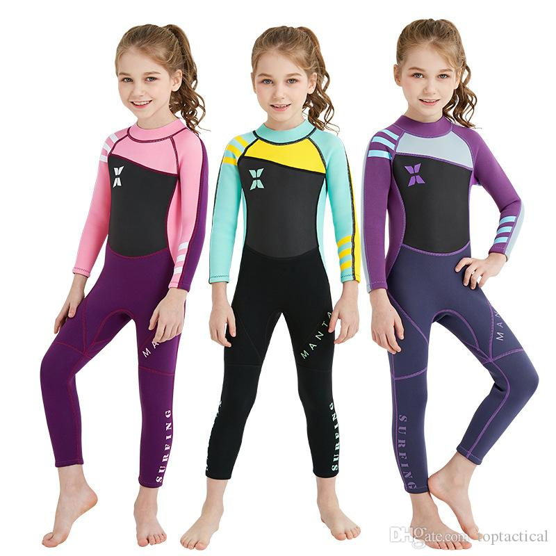 0b5d7ef403 2019 Wholesale New Style 2.5MM Girls Children S Neoprene Wetsuit Diving  Suits Long Sleeves Wetsuit Surfing Snorkeling One Pieces Rash Guards From  ...