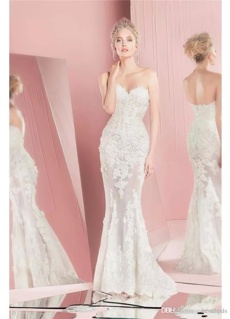 2020 Herrliche Zuhair Murad volle Spitze overskirts Brautkleider mit langen Ärmeln Schatz-Ausschnitt Applique Brautkleider mit abnehmbarem Zug