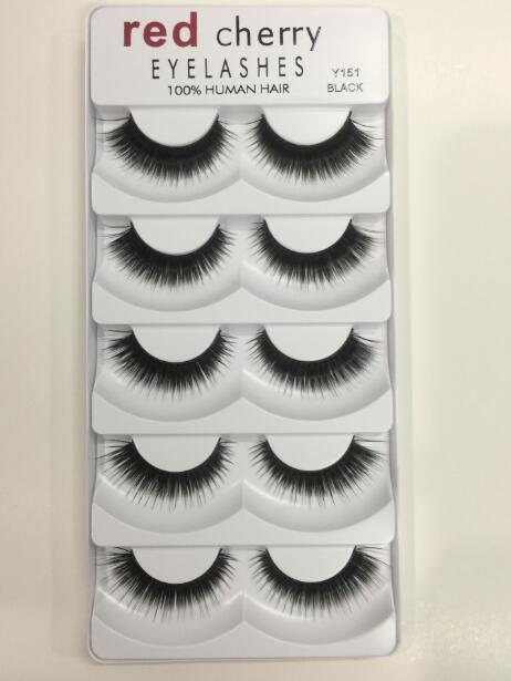 Thick Natural Long Red Cherry False Eyelashes Hand Made 100% Human Hair 3D Fake Lashes DHL Free