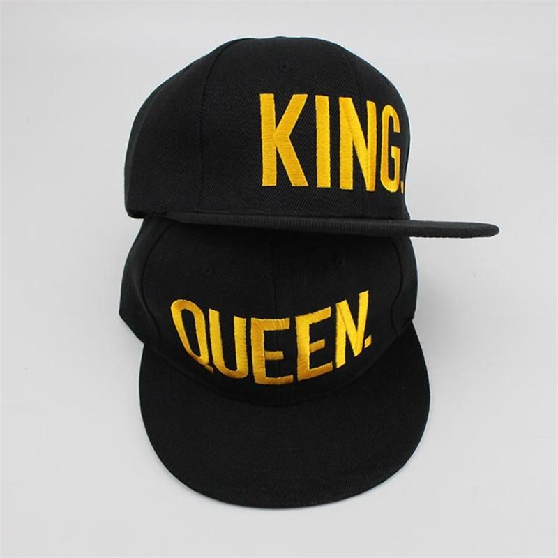 0a41736afc1 Baseball Cap Gold KING QUEEN Hats Black Adult Sun Hats Flat Brim LOVER Hip  Hop Caps Snap Back Adult Custom Adjust Head Size Caps For Men Custom  Baseball ...