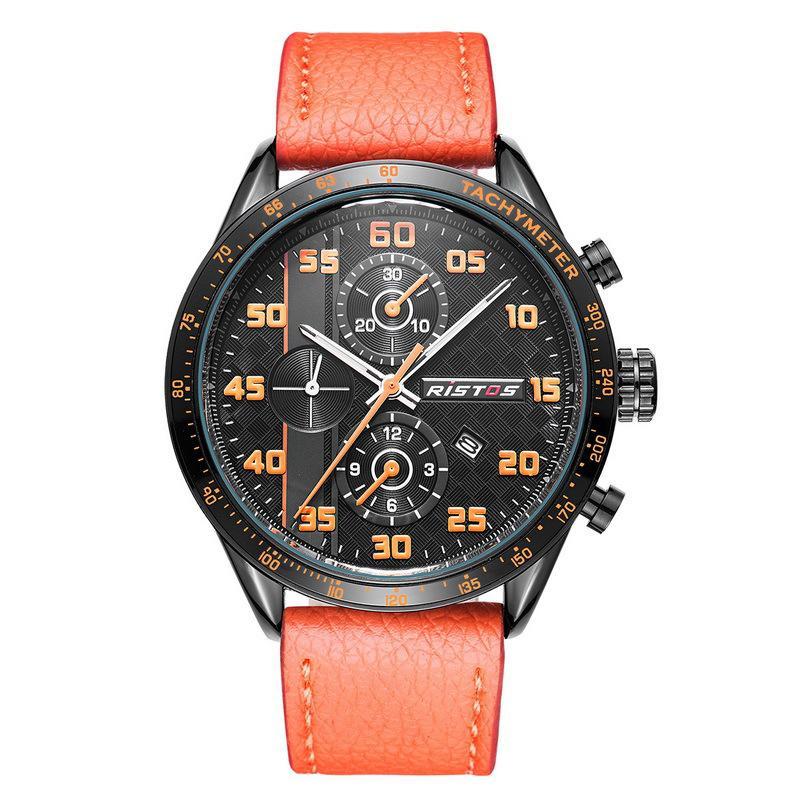 334b93313567 Compre Reloj De Cinturón De Cuarzo De Tres Ojos De Cuero Resistente Al Agua  Con Esfera Grande De Comercio Exterior De Rousseau
