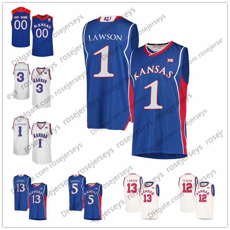 dbfc82c44 2019 NCAA Kansas Jayhawks  10 Sviatoslav Mykhailiuk 13 KJ Lawson 3 Sam  Cunliffe 5 Charlie Moore 12 Chris Teahan Blue White Cream Retro Jerseys  From ...